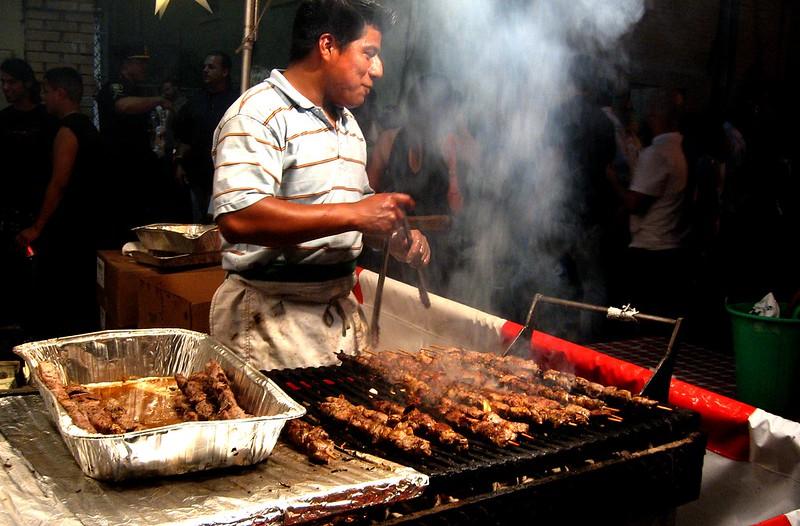 Man Making Kabobs at St. Anns Italian festival, Hoboken